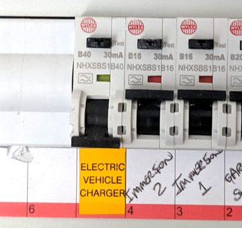 EV charger connecting to the fuse box