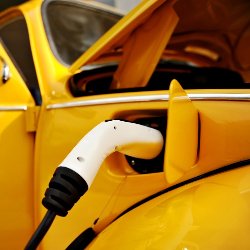 electric car charging yellow chargebase